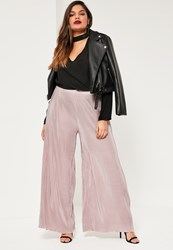 Missguided Plus Size Nude Pleated Wide Leg Fluted Hem Trousers Mauve