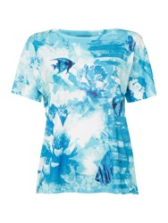 Tigi Cap Sleeve Print Jersey Top Blue