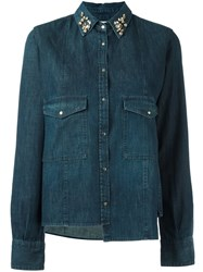 Golden Goose Deluxe Brand Embellished Collar Denim Shirt Blue