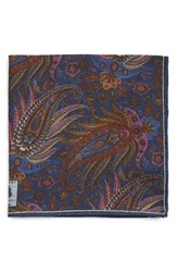 Men's Robert Talbott Paisley Pocket Square Blue Navy