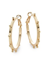 Saks Fifth Avenue Sailor Dotted Hoop Earrings 1.5 Gold