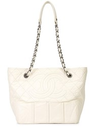 Chanel Vintage Large 'Shopping In Moscow' Tote White