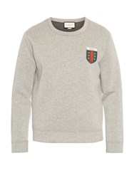 Gucci Logo Applique Crew Neck Neoprene Sweatshirt Light Grey