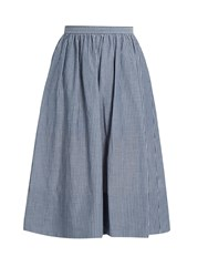 Vince Striped Cotton Skirt Blue Stripe