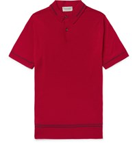 John Smedley Beecroft Slim Fit Contrast Tipped Merino Wool Polo Shirt Red