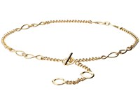 Michael Michael Kors Nautical Knotted Chain Belt With Toggle Front Closure Light Polished Gold Women's Belts