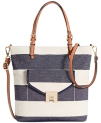 Tommy Hilfiger Postino Rugby Woven Canvas Mini Convertible Magazine Tote Navy Natural