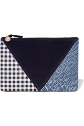 Clare V. V Patchwork Printed Leather And Suede Clutch Blue