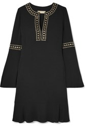 Michael Michael Kors Stud Embellished Crepe Mini Dress Black
