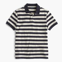 J.Crew Textured Cotton Polo Shirt In Royal Navy Stripe Royal Indigo