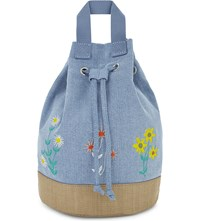 Stella Mccartney Floral Denim Backpack Sun Faded Denim