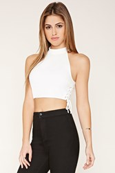 Forever 21 Lace Up High Neck Crop Top