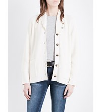 Frame College Wool And Cotton Blend Cardigan Off White