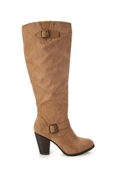 Forever 21 Faux Suede Knee High Boots Taupe