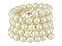 Kenneth Jay Lane 4 Row Cultura Pearl 10Mm Coil Bracelet Pearl Bracelet White