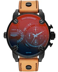 Diesel Men's Chronograph Little Daddy Brown Leather Strap Watch 52Mm No Color