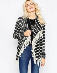 La Fee Verte Striped Waterfall Cardigan With Fringing Graphite