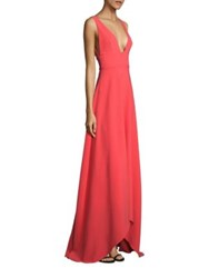Monique Lhuillier Solid Sleeveless High Low Gown Coral