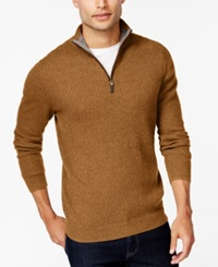 Tasso Elba Textured Quarter Zip Sweater Only At Macy's Classic Gold Heather