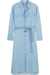 Equipment Delaney Cotton Chambray Shirt Dress Blue