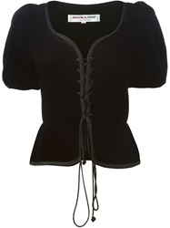 Yves Saint Laurent Vintage Puff Sleeve Lace Up Blouse Black