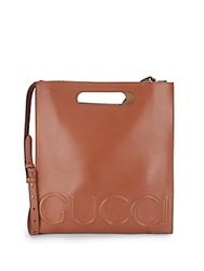 Gucci Open Top Leather Shoulder Bag Brown