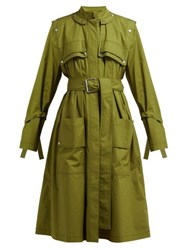 Proenza Schouler Belted Cotton Blend Single Breasted Trench Coat Dark Green