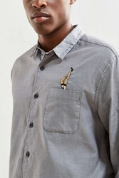 Urban Outfitters Uo Embroidered Dobby Ticking Button Down Shirt Grey