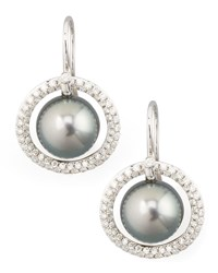 Gray South Sea Pearl And Diamond Halo Earrings 1.15Ct Eli Jewels Blue