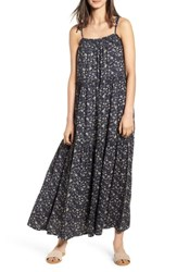 Hinge Tiered Maxi Dress Navy Blue Flower Branches