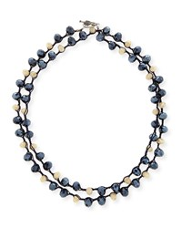 Blue Montana And Sand Crystal Crocheted Necklace 40' Blue Sand Navy An Old Soul
