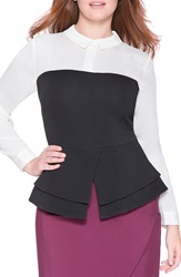 Eloquii Faux Bustier Peplum Top Plus Size White With Black Bustier