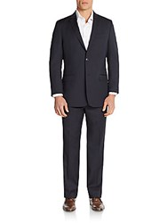Versace Regular Fit Tonal Pinstriped Wool Suit Blue Stripe