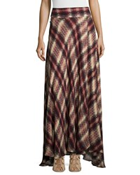 Haute Hippie Chevron Plaid Print Silk Maxi Skirt Women's