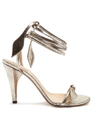 Chloe Mike Wraparound Crackled Leather Sandals Silver