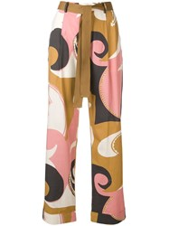 Alysi Printed High Waist Trousers Neutrals