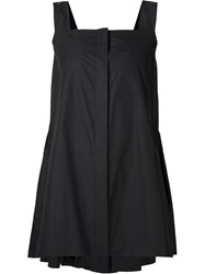 Vera Wang Pleated Back Flared Top Black