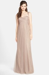 Women's Jenny Yoo 'Willow' Convertible Tulle Gown Mink Grey