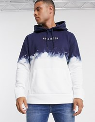 Hollister Logo Hoodie In Blue Wash