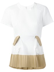 Sacai Pleated T Shirt White