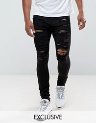 Jaded London Super Skinny Jeans In Black With Distressing Black