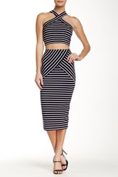 Socialite Striped Bodycon Midi Skirt Blue