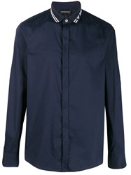 Emporio Armani Long Sleeve Fitted Shirt Blue
