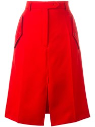 Nina Ricci Front Slit A Line Shirt Red