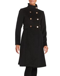 Eliza J Double Breasted Wool Blend Coat Black