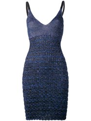Kenzo Metallic Textured Knit Dress Blue