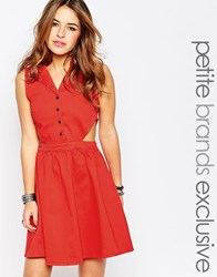 Noisy May Petite Western Cut Out Dress Red