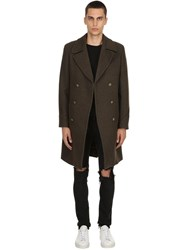 Palto Achille Double Breasted Wool Blend Coat Green