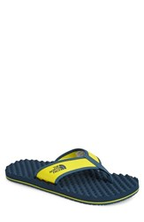 The North Face Men's 'Base Camp' Flip Flop Acid Yellow Indian Teal Blue