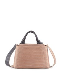 Nancy Gonzalez Tie New Mini Flap Crocodile Top Handle Bag Nude Gray Nude Gray